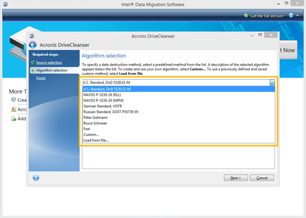 Intel® Data Migration Software screenshot with algorithm selection