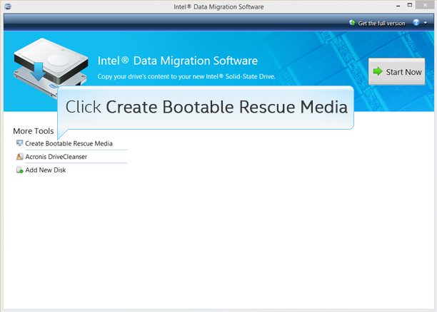 Intel® Data Migration Software screenshot with Create Bootable Rescue Media button