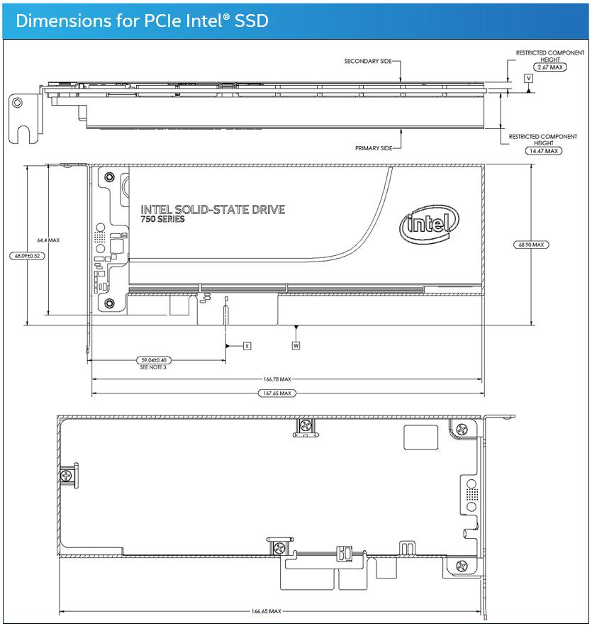 Dimensions for PCIe Intel® SSD