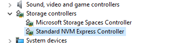 Device Manager -> Storage Controllers