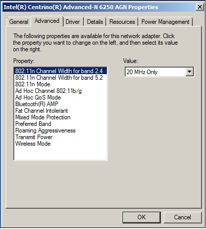 Advanced Intel® Wireless Adapter Settings
