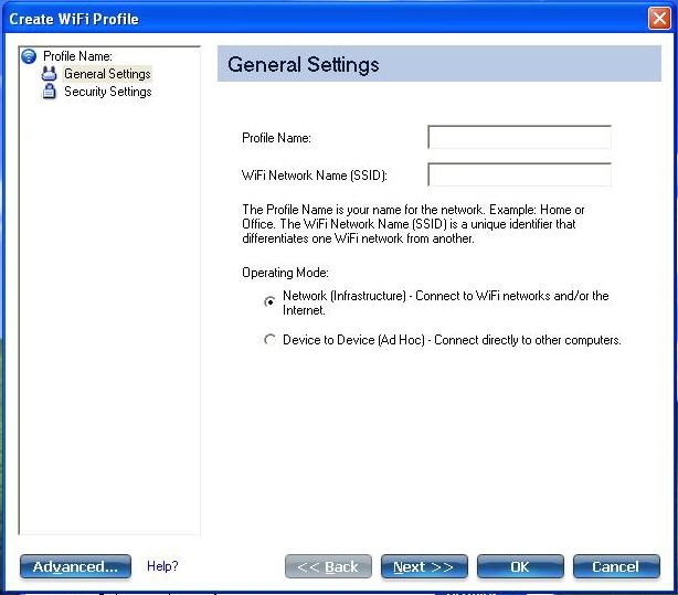 Screenshot of General Setting section of the Create WiFi Profile window