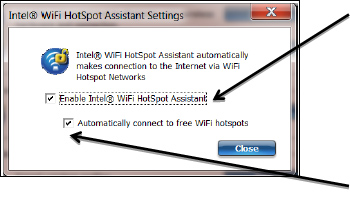 Screenshot of the Intel WiFi Hotspot Assistant indicating which check boxes to check