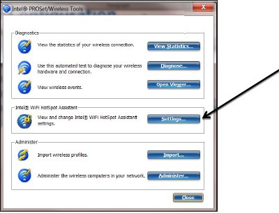 """Screenshot of Intel® Proset Wireless tools indicating the location of the """"Settings"""" button"""