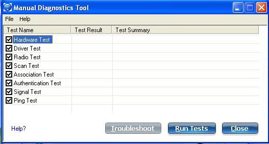 Screenshot of the Manual diagnostic tool