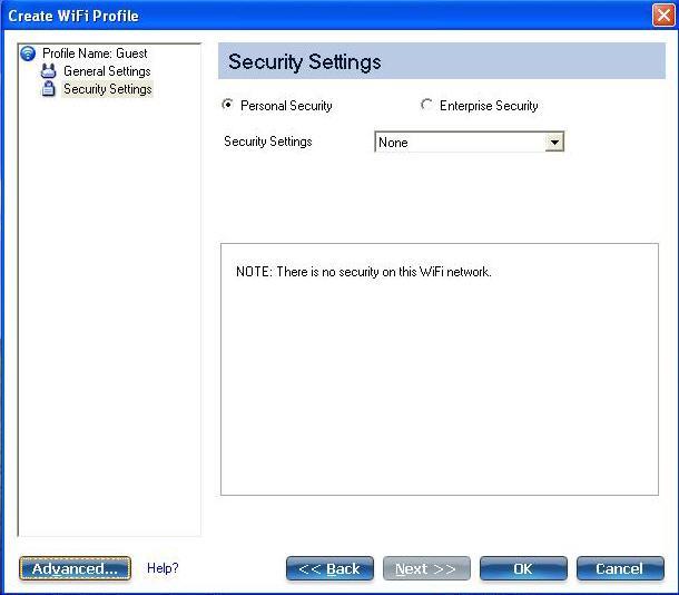 「建立 WiFi 設定檔」視窗中安全性設定區段的螢幕擷取畫面