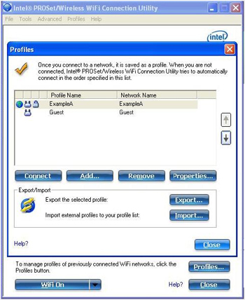 Screen shot of WiFi connection utility profiles window demonstrating connected WiFi networks