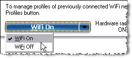 Screenshot of the Intel PROSet/Wireless WiFi Connection Utility and the Hardware drop down menu