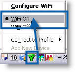 Screenshot of the PROset right-click context menu indicating the WiFi on menu option