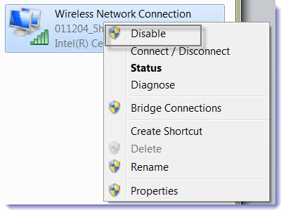 Screenshot of Network Connections showing location of display button