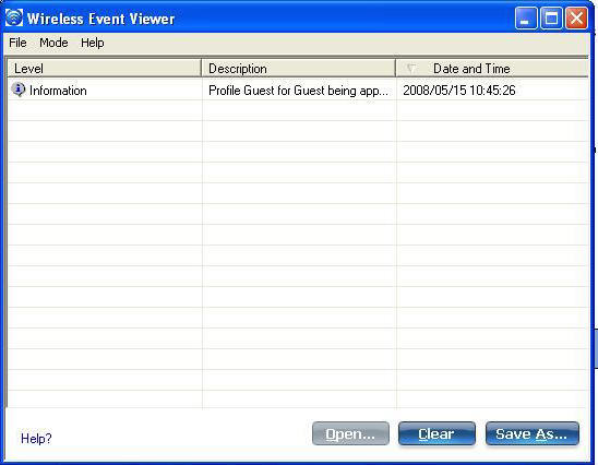 Screenshot of the Wireless Event Viewer