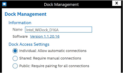 "Screenshot of Dock management with the radio button for ""Individual"" selected"