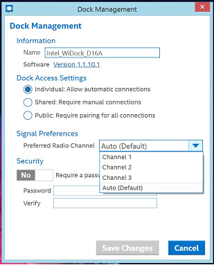 "Screenshot of Dock Management highlighting the ""Preferred Radio Channel"" drop down menu"
