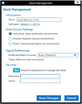 Screen shot of the Dock Management highlighting the password field