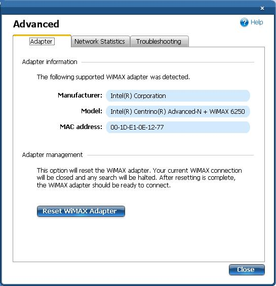 Intel® PROSet/Wireless WiMAX Software