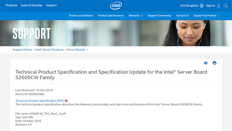 New Drivers: Intel S2600CW2S Server Board OFU