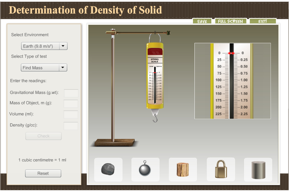 Amrita Simulation: Determination of Density of Solid
