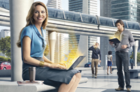 Woman seated on a bench in a futuristic setting, smiling with her laptop