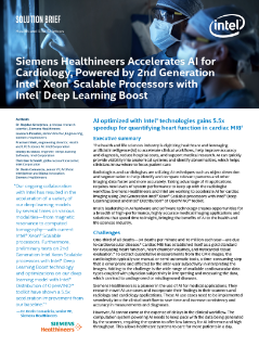 Siemens Healthineers Accelerates AI for Cardiology, Powered by 2nd Generation Intel® Xeon® Scalable Processors with Intel® Deep Learning Boost