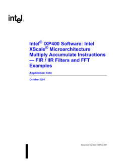 Application Note: Intel® IXP400 Software FIR/IIR Filter Examples