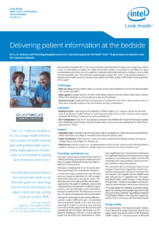 Delivering Patient Information at the Bedside,Delivering Patient Information at the Bedside - Intel