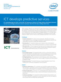 ICT: Developing Predictive Services
