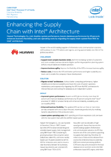 Huawei Technologies: Enhancing the Supply Chain with Intel® Architecture