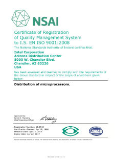 North American Regional Logistics ISO 9001:2008 Certificate