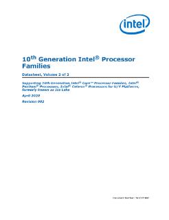 10th Gen Intel Core Processor Families Datasheet Vol 2