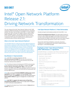 Intel® Open Network Platform Server Release 2.1: Driving Network Transformation