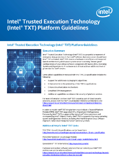 Intel® Trusted Execution Technology Server Platform Matrix