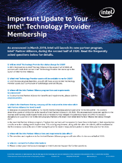 Update to Your Intel® Technology Provider Membership