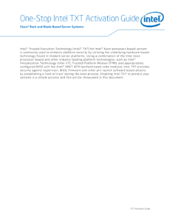 One-Stop Intel® TXT Activation Guide - Cisco* Rack and Blade Based Server Systems