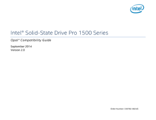 Intel® SSD Pro 1500 Series Opal* Compatibility Guide