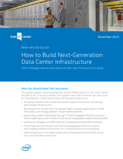 Data Center Infrastructure Built on the Intel® Xeon® Processor E5 v3 Family