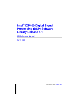 Intel® IXP400 DSP Software, V1.1: Reference Manual