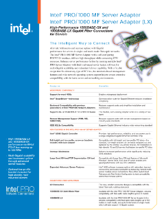 Product Brief: Intel® PRO/1000 MF Server Adapter