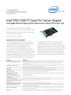 Intel® PRO/1000 PT Quad Port Server Adapter Product Brief