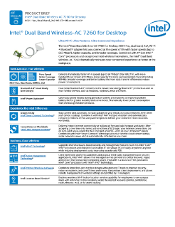 Product Brief: Intel® Dual Band Wireless-AC 7260 for Desktop