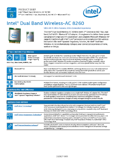 Product Brief: Intel® Dual Band Wireless-AC 8260