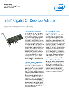 Intel® Gigabit CT Desktop Adapter Product Brief