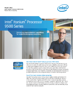 Intel Itanium Processor 9500 Series Product Brief