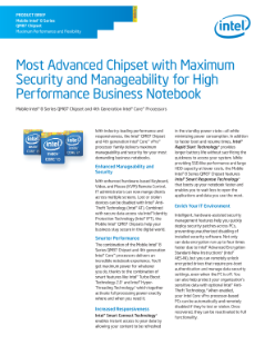 Most Advanced Chipset with Maximum Security and Manageability for High Performance Business Notebook