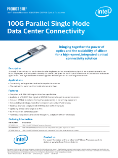 Intel® Silicon Photonics 100G PSM4 Brief