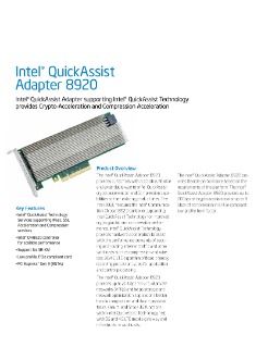 Intel® QuickAssist Adapter 8920: Product Brief