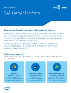 SAP HANA* Real-Time Analytics Software and Intel® Technologies