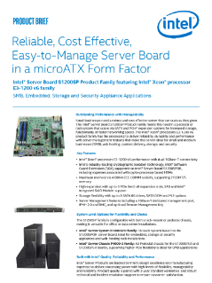 Product Brief: Intel® Server Board S1200SP Product Family Featuring Intel® Xeon® Processor E3-1200 v5 Family