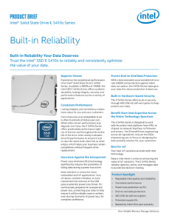 Intel® Solid State Drive E 5410s Series: Product Brief
