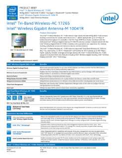 Intel® Tri-Band Wireless-AC 17265: Product Brief