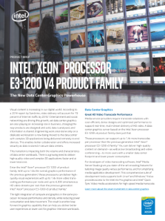 Intel® Xeon® Processor E3-1200 v4 Product Family Brief